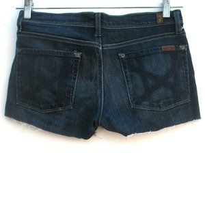 7 For All Mankind Mia Cut Off Denim Shorts Sz 28